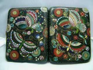 Antique Chinese Cloisonné Enamel Cigarette Case Circa 1900 photo