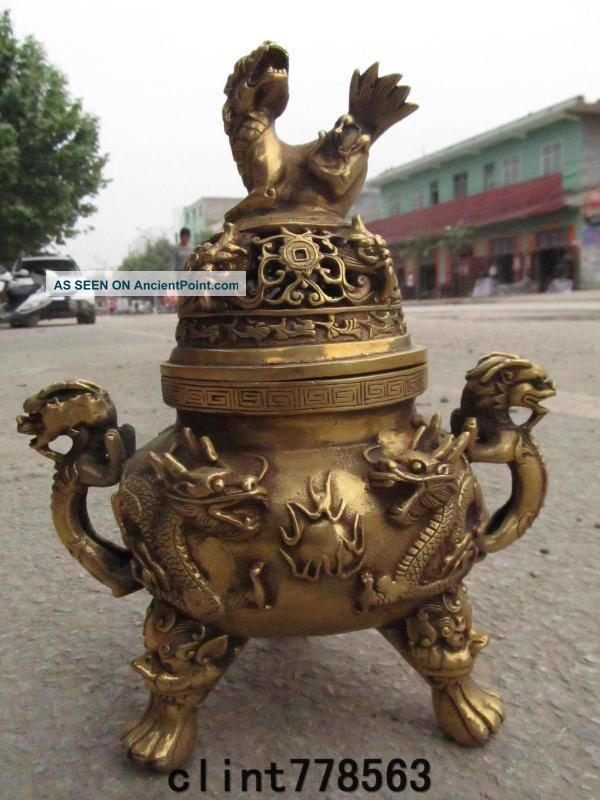 Buddhism Brass Temple Two Dragon Foo Dog Ears Beast Incense Burner180 Reproductions photo