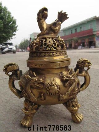 Buddhism Brass Temple Two Dragon Foo Dog Ears Beast Incense Burner180 photo
