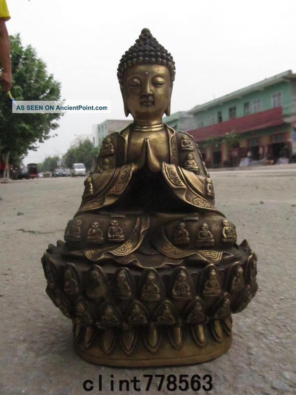 Tibet Folk Temple Brass Sit Amitayus Sakyamuni Buddha 240 Reproductions photo