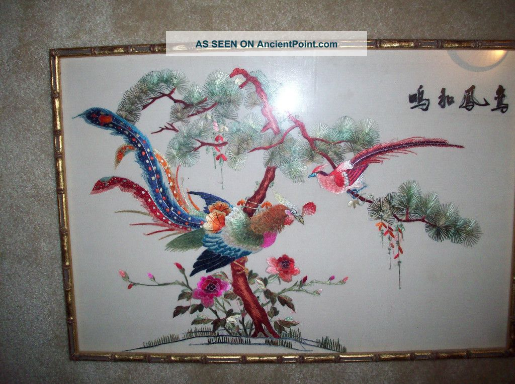 Vintage Chinese Silk Embroidered Birds