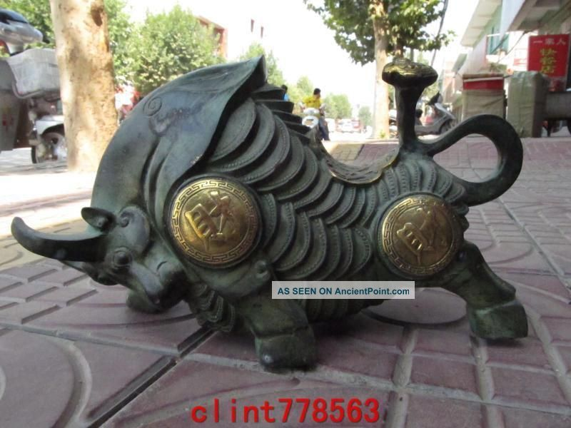 Chinese Folk Classical Old Bronze Gilt Money Coin Wealth Wrath Bull Ox Statuary Reproductions photo