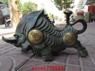 Chinese Folk Classical Old Bronze Gilt Money Coin Wealth Wrath Bull Ox Statuary photo