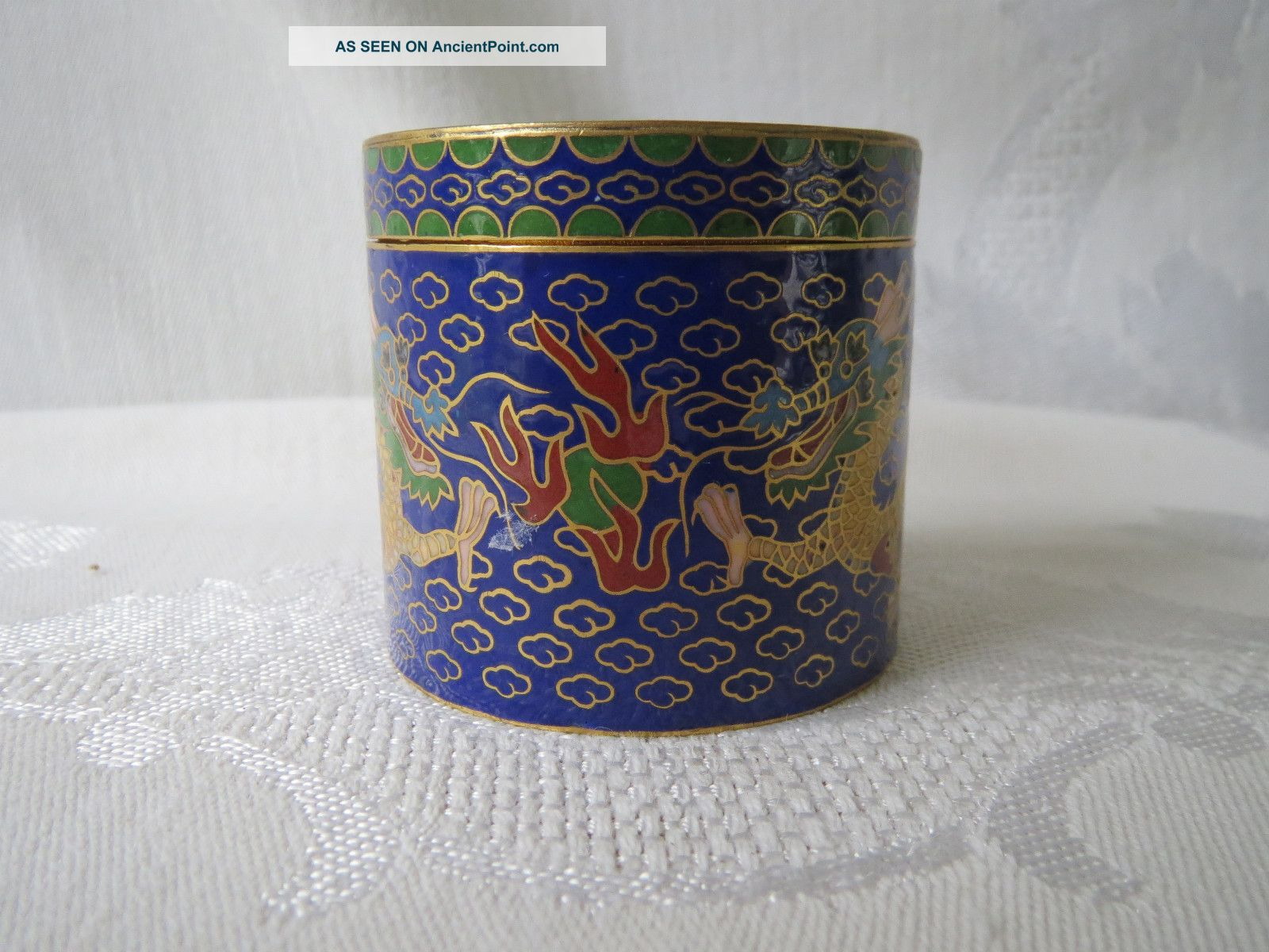 Antique Chinese Cloisonne Enamel Brass Design Two Dragon Box Boxes photo