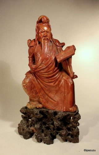 Chinese Soapstone Carving Judge - Red photo