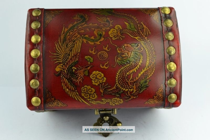 - China Collectibles Old Handwork Wood Dragon Phoenix Big Jewel Box Boxes photo