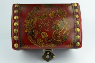 - China Collectibles Old Handwork Wood Dragon Phoenix Big Jewel Box photo