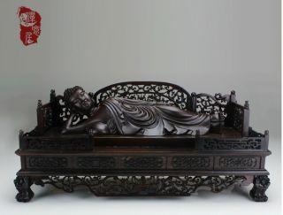 Chinese Wood Heitan Ebony Carved Sleep Buddha Statue Sculpture Netsuke Amulet A6 photo