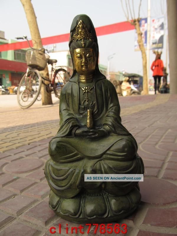 Chinese Classical Old Bronze Gild Kwan - Yin Statues Reproductions photo