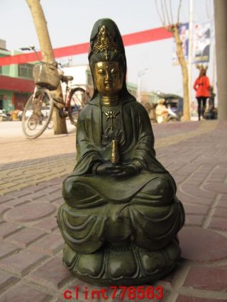 Chinese Classical Old Bronze Gild Kwan - Yin Statues photo