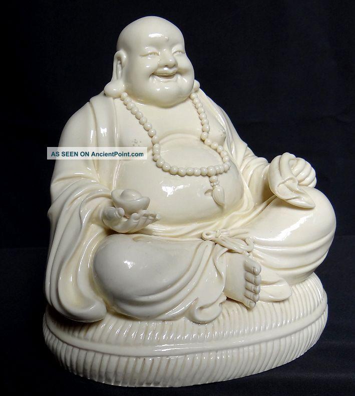 Chinese De - Hua White Porcelain Happy Buddha (laughing Bodhisattva) 7