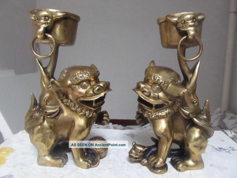 China Buddhism Brass Two Foo Dog Lion Candlesticks Play 18757 Reproductions photo