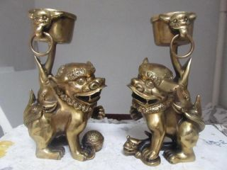 China Buddhism Brass Two Foo Dog Lion Candlesticks Play 18757 photo