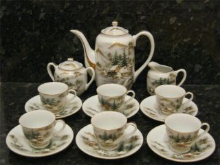 Japanese Hand Painted Satsuma Porcelain 15 Piece Coffee Set photo
