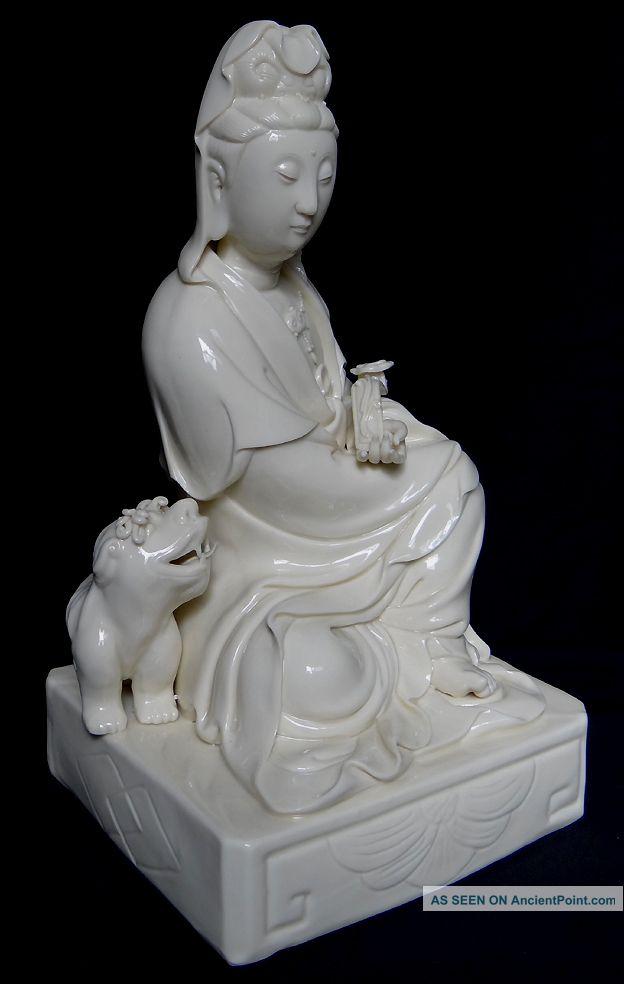 Chinese White De Hua Porcelain Kwan Yin Buddha With Ru Yi 12