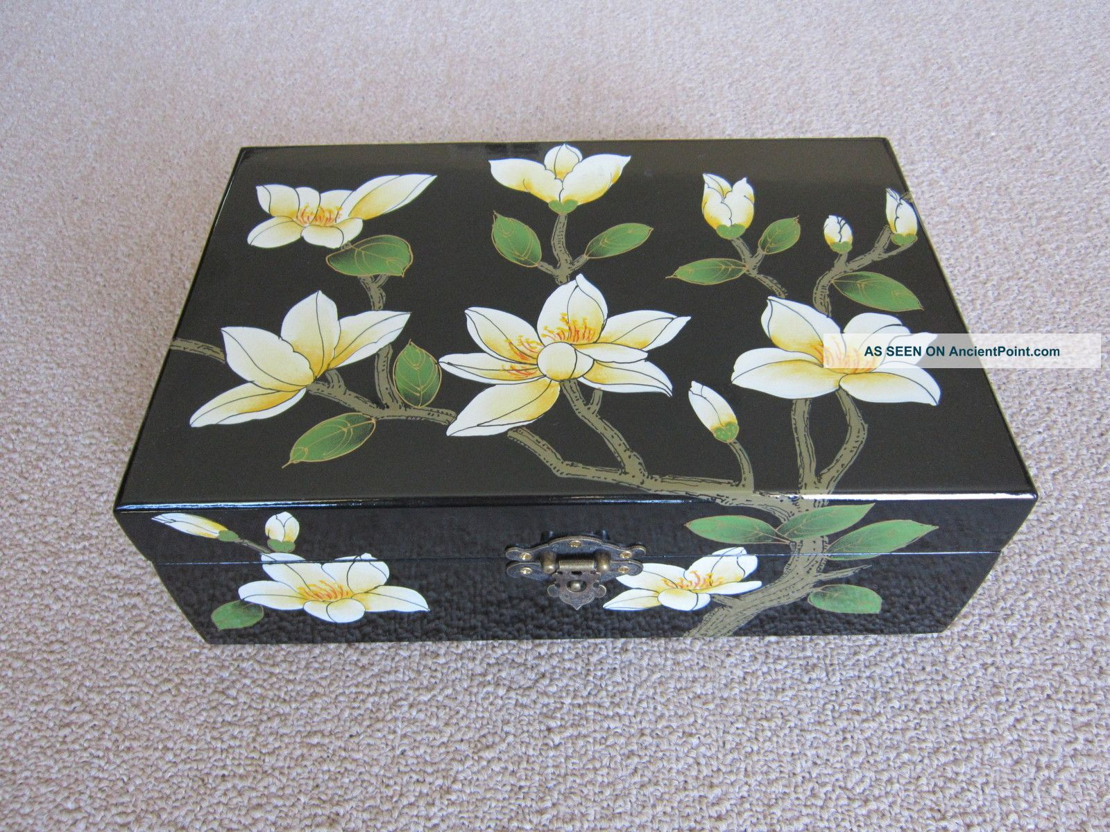 Chinese Wooden Jewelry Box With Flowers Pattern Boxes photo