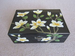 Chinese Wooden Jewelry Box With Flowers Pattern photo