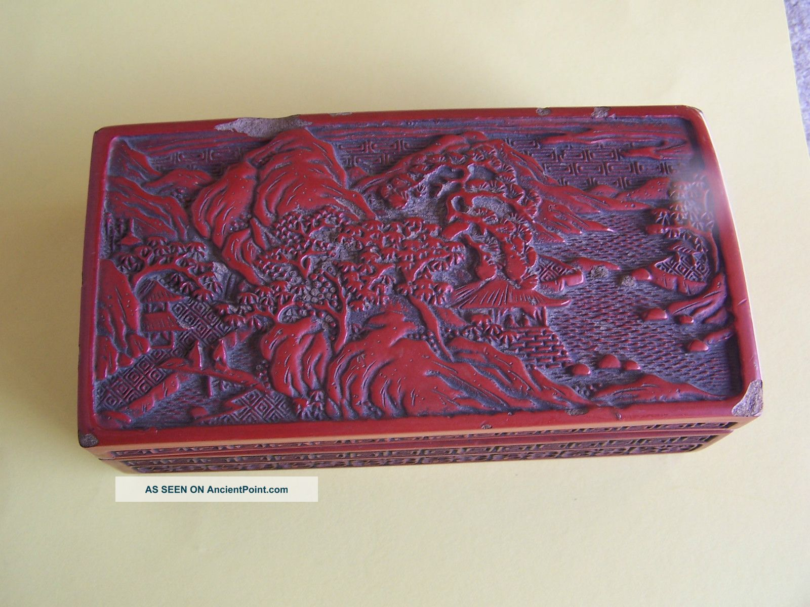 Vintage Chinese Handcarved Red Cinnabar Lacquer Box 7
