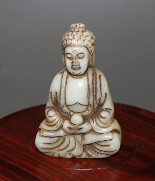 Ancient Chinese Old Hetian White Jade Hand - Carved,  Statues (buddha) photo