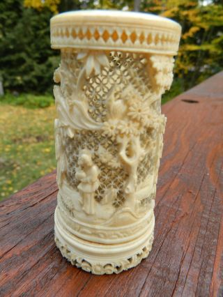 Antique Chinese Carved Faux Ivory Ox Bone Jar Urn photo