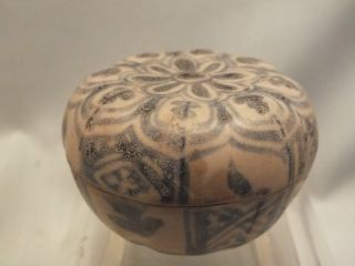 Small Chinese Round Porcelain Box & Cover With Underglaze Blue Decor Pre1800 photo