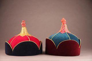 Very Fine Pair Mongolian Velvet & Silk Tribal Ceremonial Mens Hats Ca.  1980 ' S 2 photo