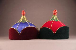 Very Fine Pair Mongolian Velvet & Silk Tribal Ceremonial Mens Hats Ca.  1980 ' S photo