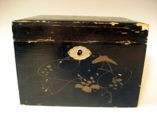 China Chinese Lacquered Tea Box Avian & Floral Decor Ca.  1900 ' S photo