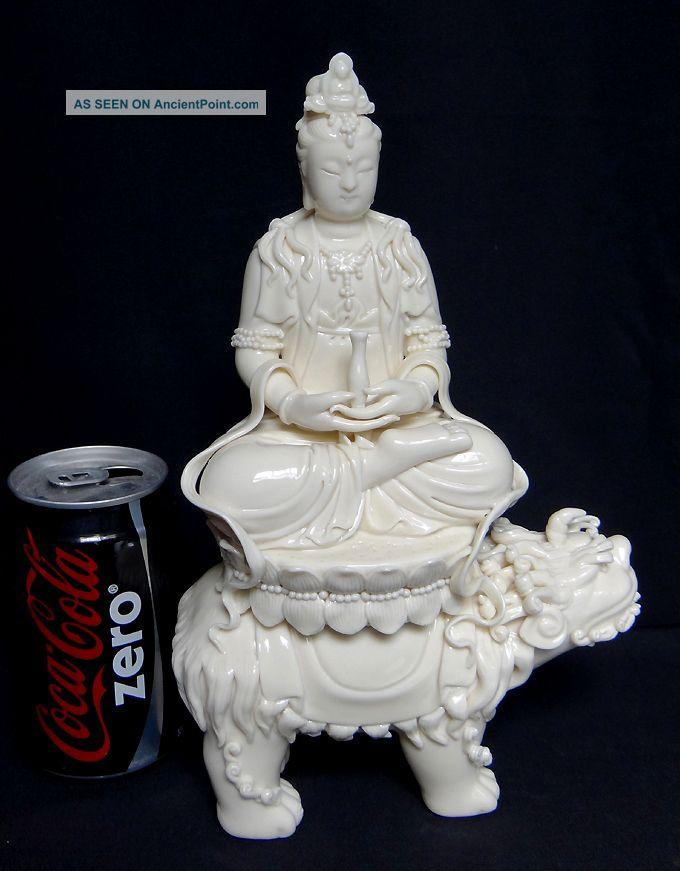 Chinese White De Hua Porcelain Kwan Yin Buddha With 11.  5