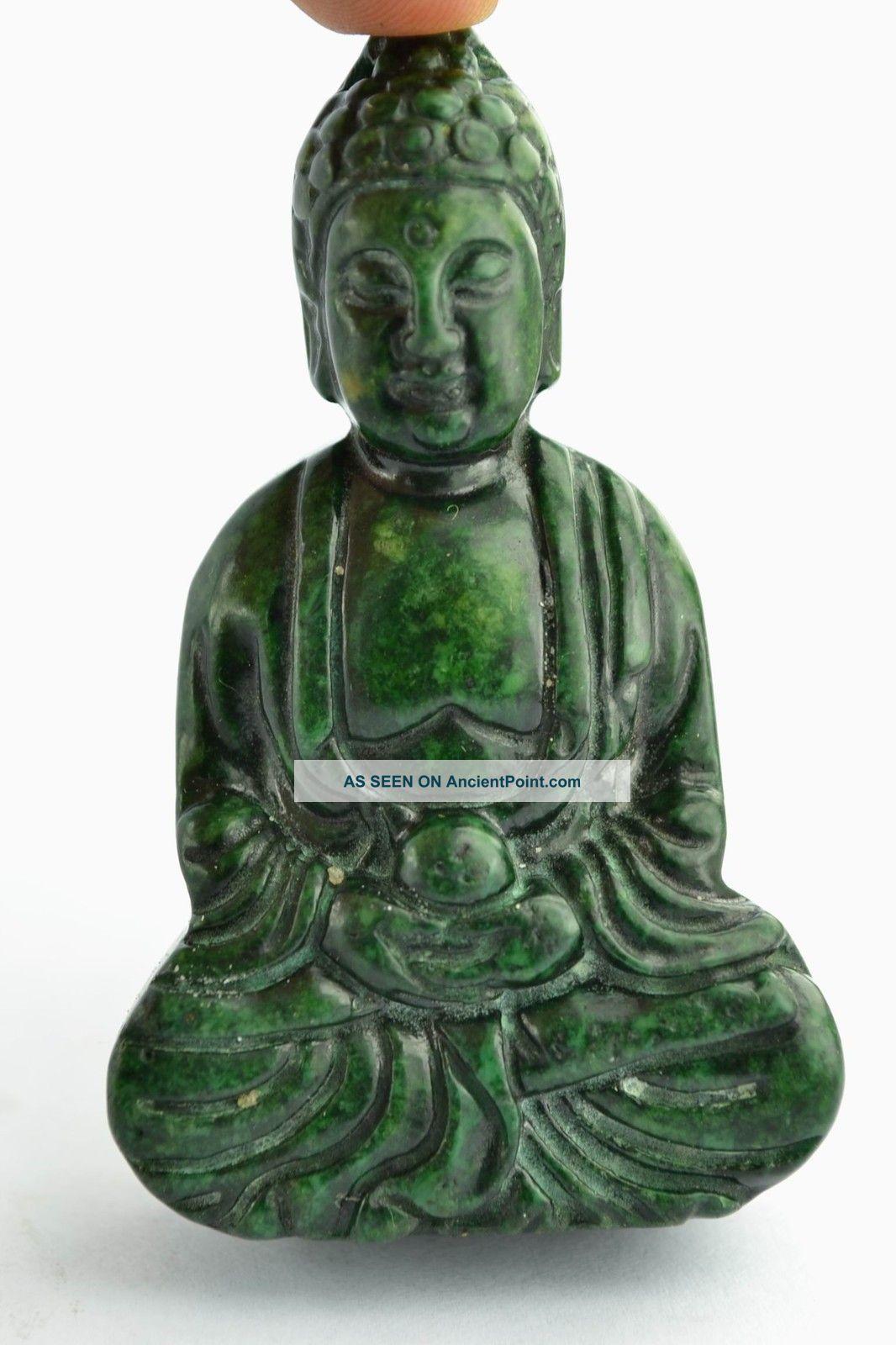 China Collectibles Old Decorated Wonderful Handwork Jade Buddha Exorcism Pendant Buddha photo