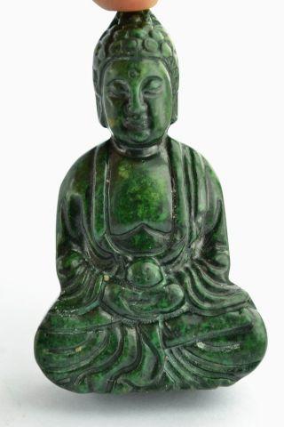 China Collectibles Old Decorated Wonderful Handwork Jade Buddha Exorcism Pendant photo