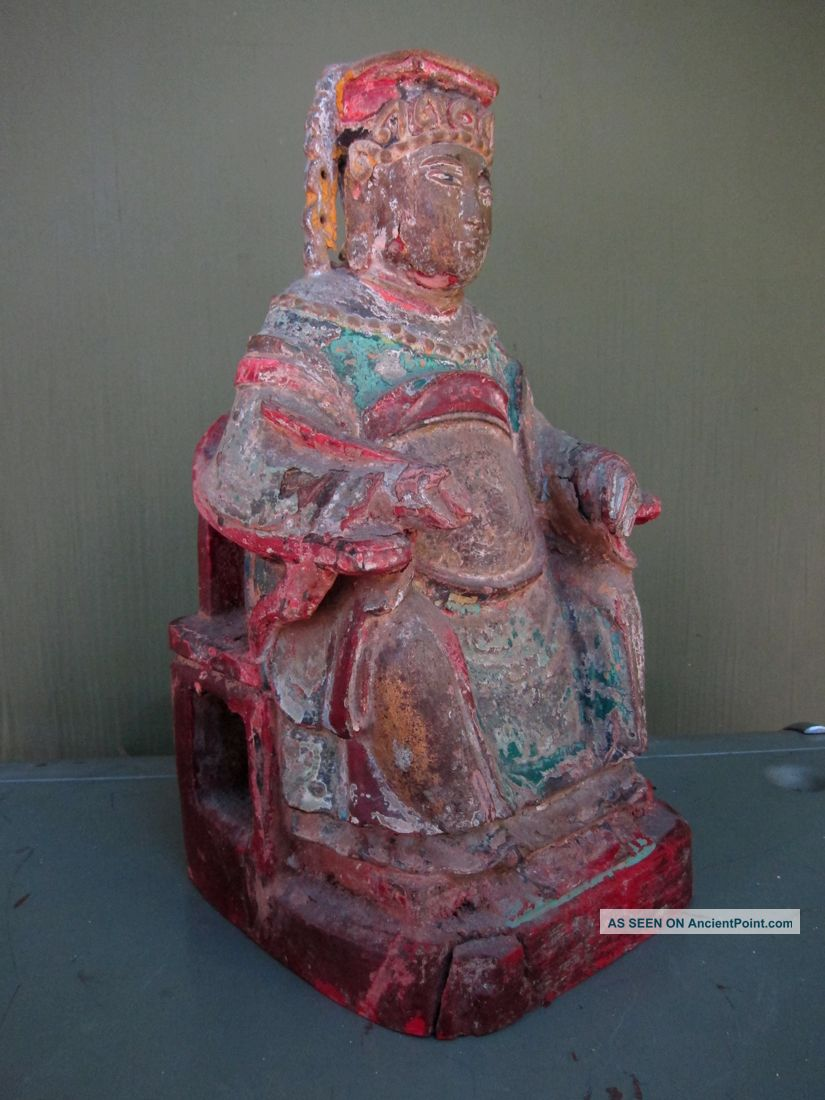19th Century Chinese Seated Elder - Great Colorful Patina Buddha photo