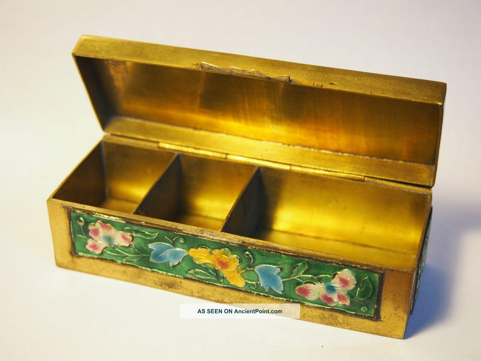 Antique Brass/enamel Chinese Stamp/trinket Box Boxes photo