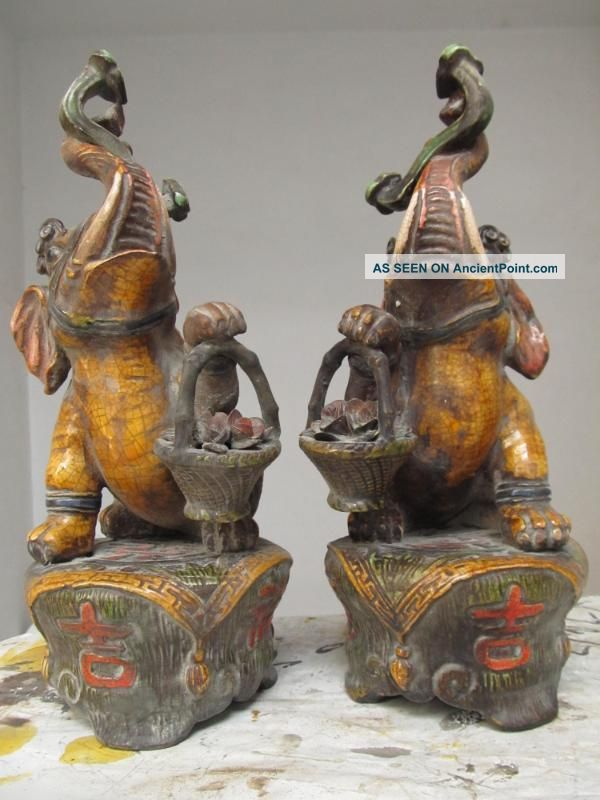 Chinese Old Folk Wucai Porcelain Carved Lucky Elephant Pair Reproductions photo