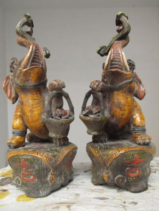 Chinese Old Folk Wucai Porcelain Carved Lucky Elephant Pair photo