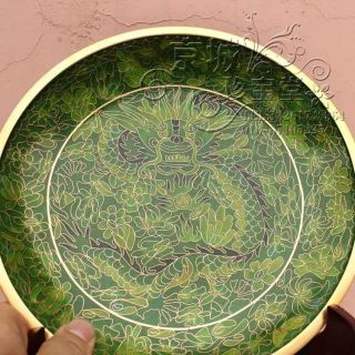 Chinese Antique Cloisonne Green Dragon Plate 9inches photo