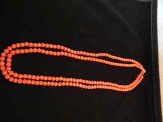 A Good Coral Bead Double String Necklace 19thc photo