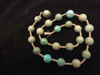 Part Chinese Jade Necklace With A Jade Mounted Silver Clasp 19thc photo