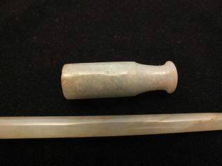 A Good Chinese Celadon Jade Cheroot Holder & Part Of A Handle 19thc photo