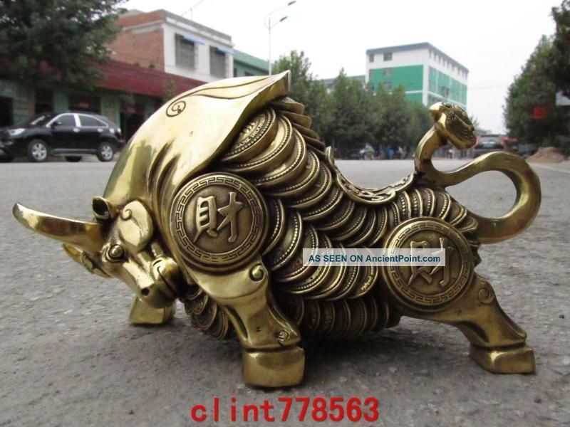 Chinese Folk Collection Brass Money Coin Lucky Wealth Ox Bull Cattle Statuary 23 Reproductions photo