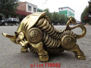 Chinese Folk Collection Brass Money Coin Lucky Wealth Ox Bull Cattle Statuary 23 photo