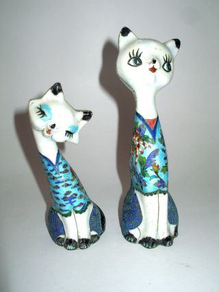 Chinese Cloisonne Cats Cat Flowers Very Unusaul Made Of Brass Then Enamelled photo