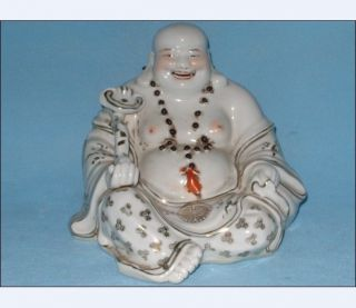 Beautiful/big/antique Chinese Famille Rose Porcelain Statues With Smiling Buddha photo