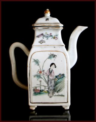 Unusual 19th.  C Antique Export Chinese Porcelain Teapot With Figures photo
