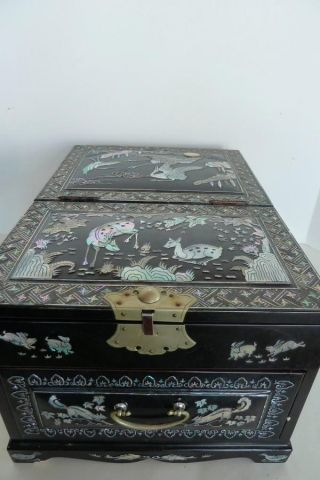 Large Asian Black Lacquer And Mop - Abalone Mirrored Box With Drawer photo