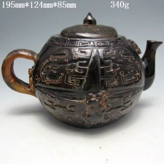 Old Antique Chinese Ox Horn Hand - Carved Teapots & Lid Nr/nc1576 photo