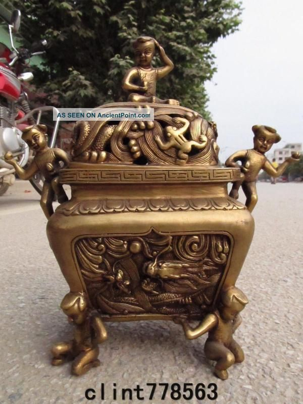 China Folk Favorites Brass Boy Dragon Incense Burner Statues 320 Reproductions photo