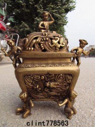 China Folk Favorites Brass Boy Dragon Incense Burner Statues 320 photo
