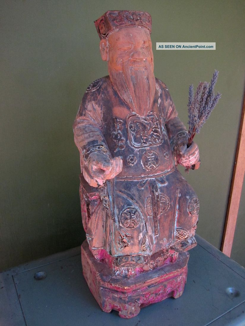 19th Century Chinese Figure Seated On Chair With Long Beard - Exquisite Carving Buddha photo