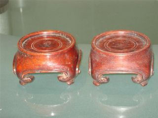Pair Of Antique Hardwood Stands photo